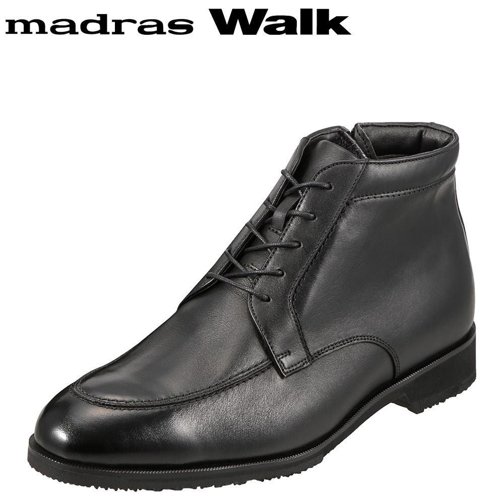 [マラソン期間中ポイント5倍]マドラスウォーク madras Walk ブーツ SPMW8006 メンズ 靴 シューズ 4E相当 ショートブーツ 防水 幅広 防滑 歩きやすい 仕事 通勤 ビジネス 小さいサイズ対応 24.5cm ブラック