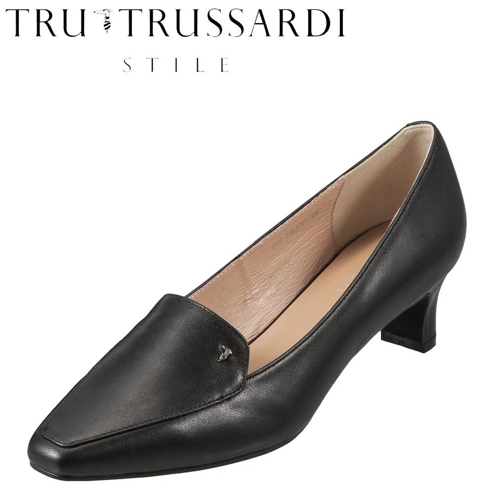 [マラソン期間中ポイント5倍]トラサルディ TRUSSARDI パンプス TRL3711 レディース靴 靴 シューズ E相当 スクウェアトゥ パンプス 本革 ローヒール シンプル オフィス 通勤 仕事 小さいサイズ対応 22.5cm ブラック