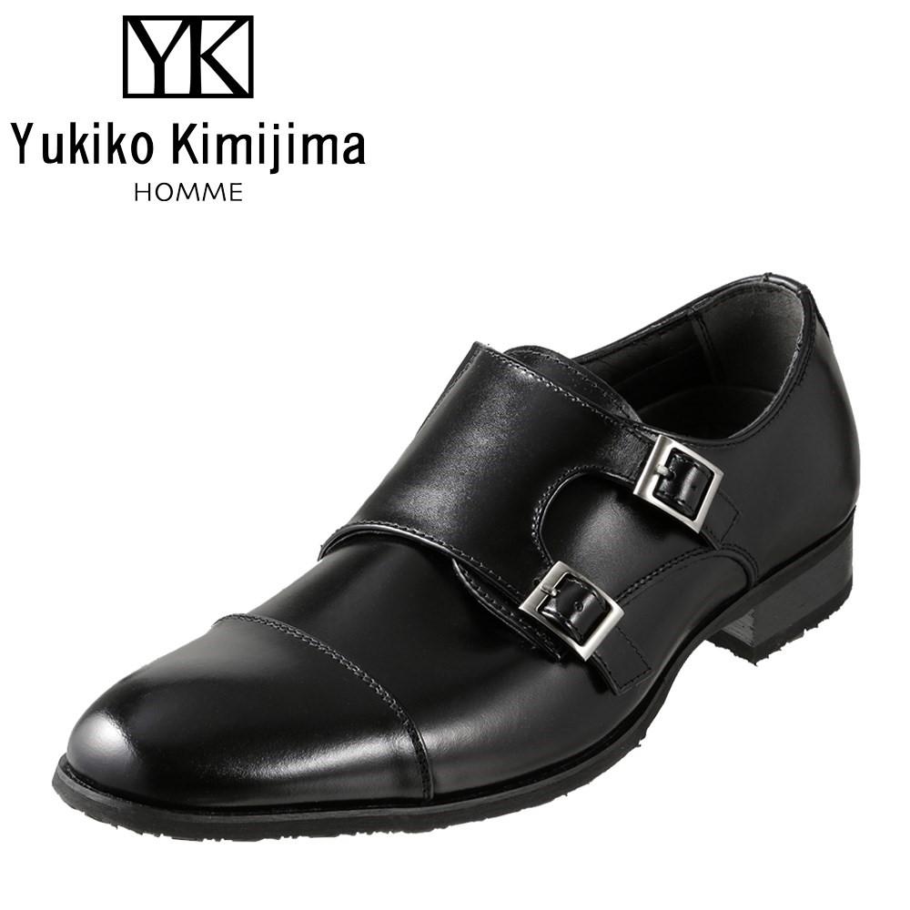 ユキコキミジマオム Yukiko Kimijima HOMME ビジネスシューズ YK2091 メンズ靴 靴 シューズ 3E相当 ダブルモンク ストレートチップ 日本製 国産 幅広 ビジネス 仕事 通勤 防滑 すべりにくい ブラック
