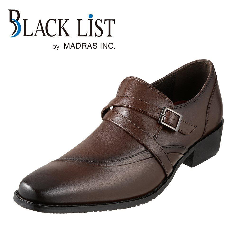 ブラックリスト BLACK LIST ビジネスシューズ BC2517 メンズ靴 靴 シューズ スリッポン 本革 クロスベルト 紐なし ビジネス 仕事 通勤 ロングノーズ 脚長効果 おしゃれ ダークブラウン