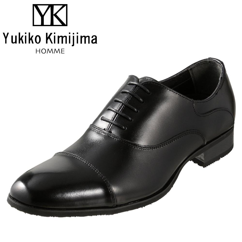 ユキコキミジマオム Yukiko Kimijima HOMME YK2090 メンズ靴 3E相当 ビジネスシューズ ストレートチップ 内羽式 ラウンドトゥ 牛革 レザー ブラック