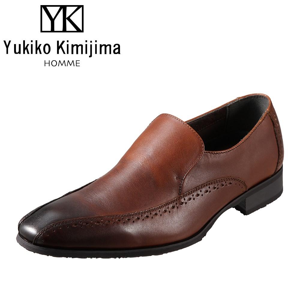 ユキコキミジマオム Yukiko Kimijima HOMME YK2110 メンズ靴 3E相当 ビジネスシューズ スワローモカ ラウンドトゥ 牛革 レザー ブラウン