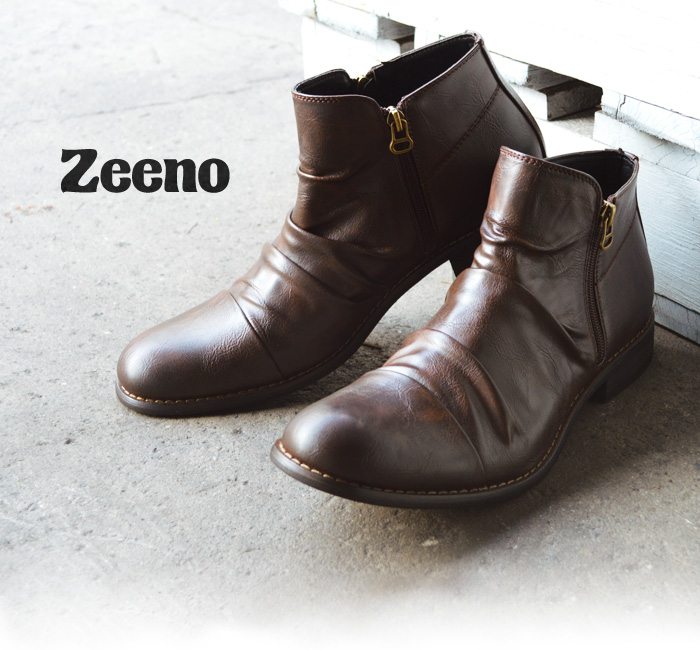 Men's boots men's boots short boots draped boots Engineer Boots work boots suede suede W zipper formal men's popular shoes man Zeeno Gino ze2500 /