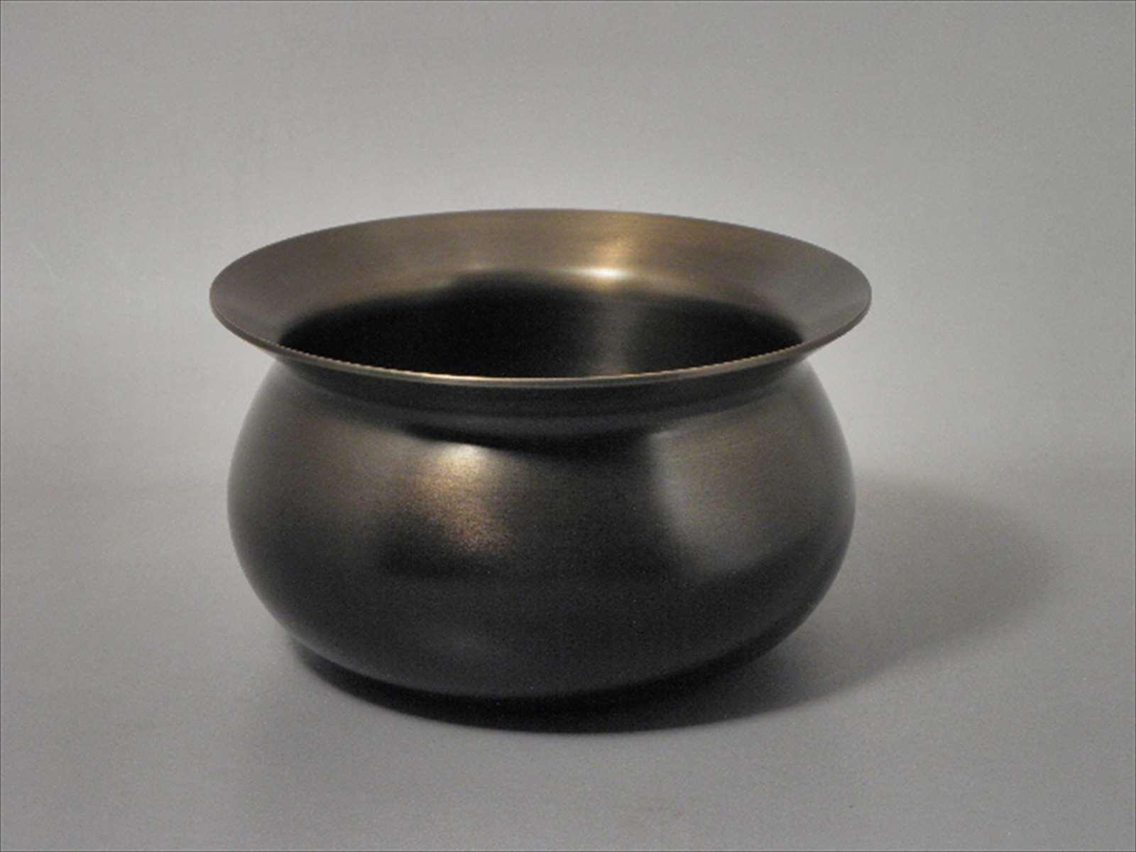 越中祥栄堂製 高岡 唐銅 伝来形建水 けんすい 鍋長色 ケース入り 茶道具