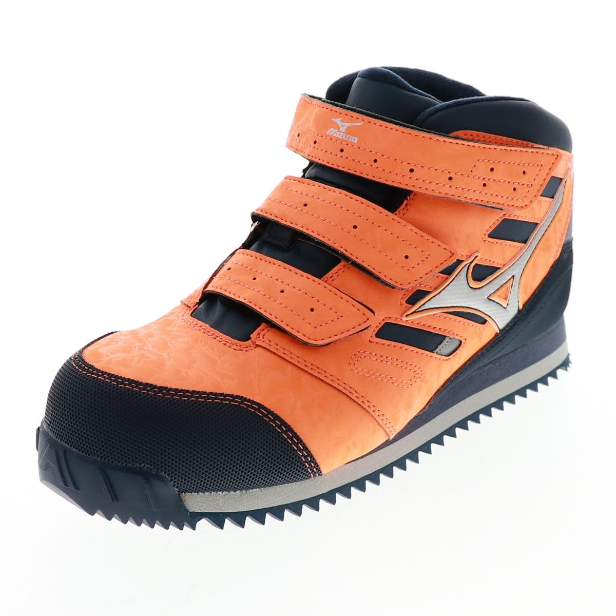 MIZUNO ミズノ 安全靴 メンズ スニーカー 芯入り F1GA180454 ミッドタイプ 作業靴 プロテクティブスニーカー ALMIGHTY WT オレンジ×シルバー×ネイビー オールマイテWTMD OR/NV