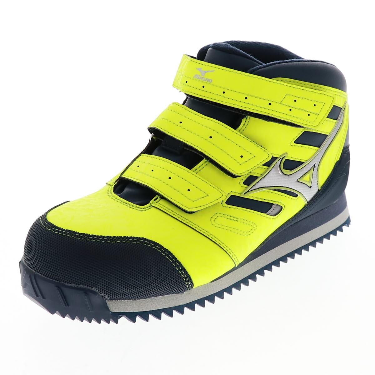 MIZUNO ミズノ 安全靴 メンズ スニーカー 芯入り F1GA180445 ミッドタイプ プロテクティブスニーカー 作業靴 ALMIGHTY WT イエロー×シルバー×ネイビー オールマイテWTMD YE/NV