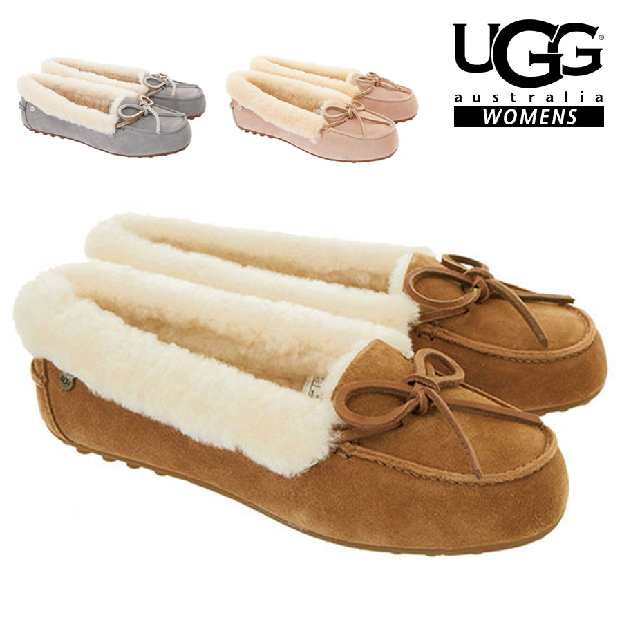 20 S/S UGG SOLANA #1020041 CHESTNUT SEAL(SILVER) AMBERLIGHT(PINK) アグ ムートンモカシン ソラーナ レディース チェスナット シルバー ピンク