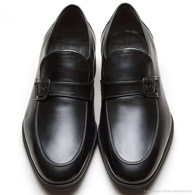 マレリー(Marelli)3Eワイズ カーフ革 Uモカスリッポン ビジネスシューズ MR302(ブラック)メンズ 靴