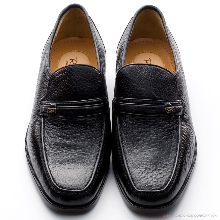マレリー(Marelli)ペッカリー革 ローファースリポン4347(ブラック)メンズ 靴 ビジネスシューズ