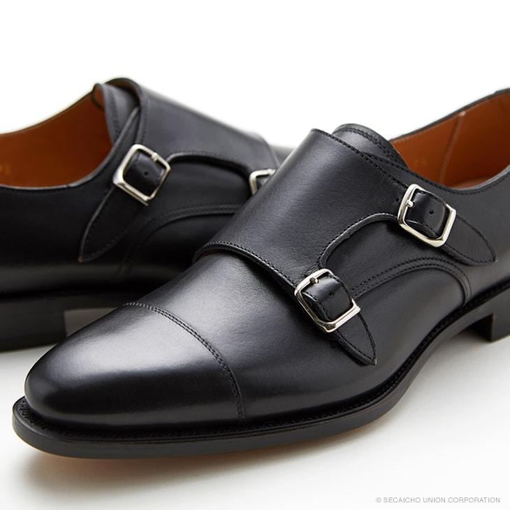 ユニオンインペリアル カーフ革 ダブルモンクストラップ ビジネスシューズ U3004(ブラック) メンズ靴 UNION IMPERIAL