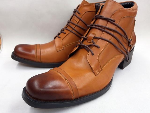 【現品25.5cm/即日発送】フープディドゥ 本革レースアップヒールホールブーツ 19237081(ブラウン) whoop'-de-doo' メンズ 靴