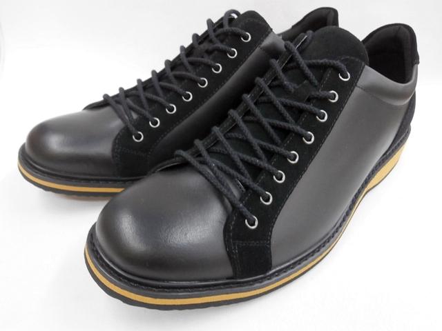 whoop'-de-doo' フープディドゥ プンタ(PUNTA) ラウンドトゥ・レザーカジュアルスニーカー 308134 (ブラック)メンズ 靴