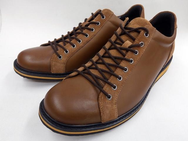 whoop'-de-doo' フープディドゥ プンタ(PUNTA) ラウンドトゥ・レザーカジュアルスニーカー 308134 (ブラウン)メンズ 靴