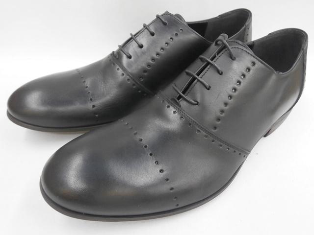 本物 しっとりしたオイル感がたまらない フープディドゥのレザーラウンドシューズ ラスト1足 26.5cm 即日発送 whoop'-de-doo' 送料無料 19210044 ラウンドトゥシューズ フープディドゥ ブラック 送料0円 メンズ靴