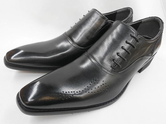 【ELLE HOMME】エルオム サイドレースアップ ビジネスシューズ EH7219(ブラック) メンズ 靴