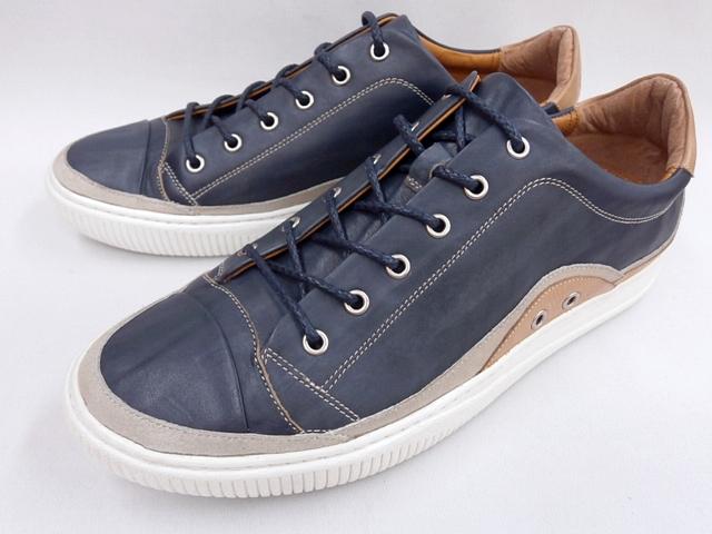 【19年新色 HAMNETT】 キャサリンハムネット 靴レザースニーカー37010(ネイビー)KATHARINE HAMNETT メンズ