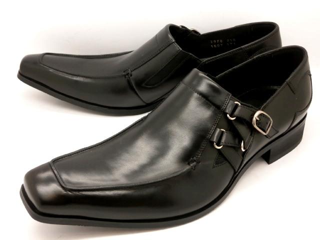 【日祝も即日発送】 キャサリンハムネット 靴ビジネスシューズ サイドストラップスリッポン 3970(ブラック)KATHARINE HAMNETT メンズ 紳士靴
