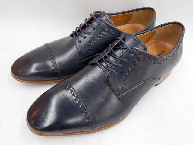 【19年発売モデル】キャサリンハムネット 靴ラウンドトゥローヒール ストレートチップビジネスシューズ 31631(ネイビー) KATHARINE HAMNETT メンズ 紳士靴