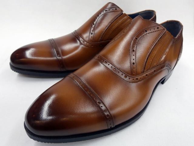 【MADRAS MODELLO】マドラス モデーロ サイドエラスティック ドレススリポン DM7024(ライトブラウン) メンズ 靴 ビジネスシューズ