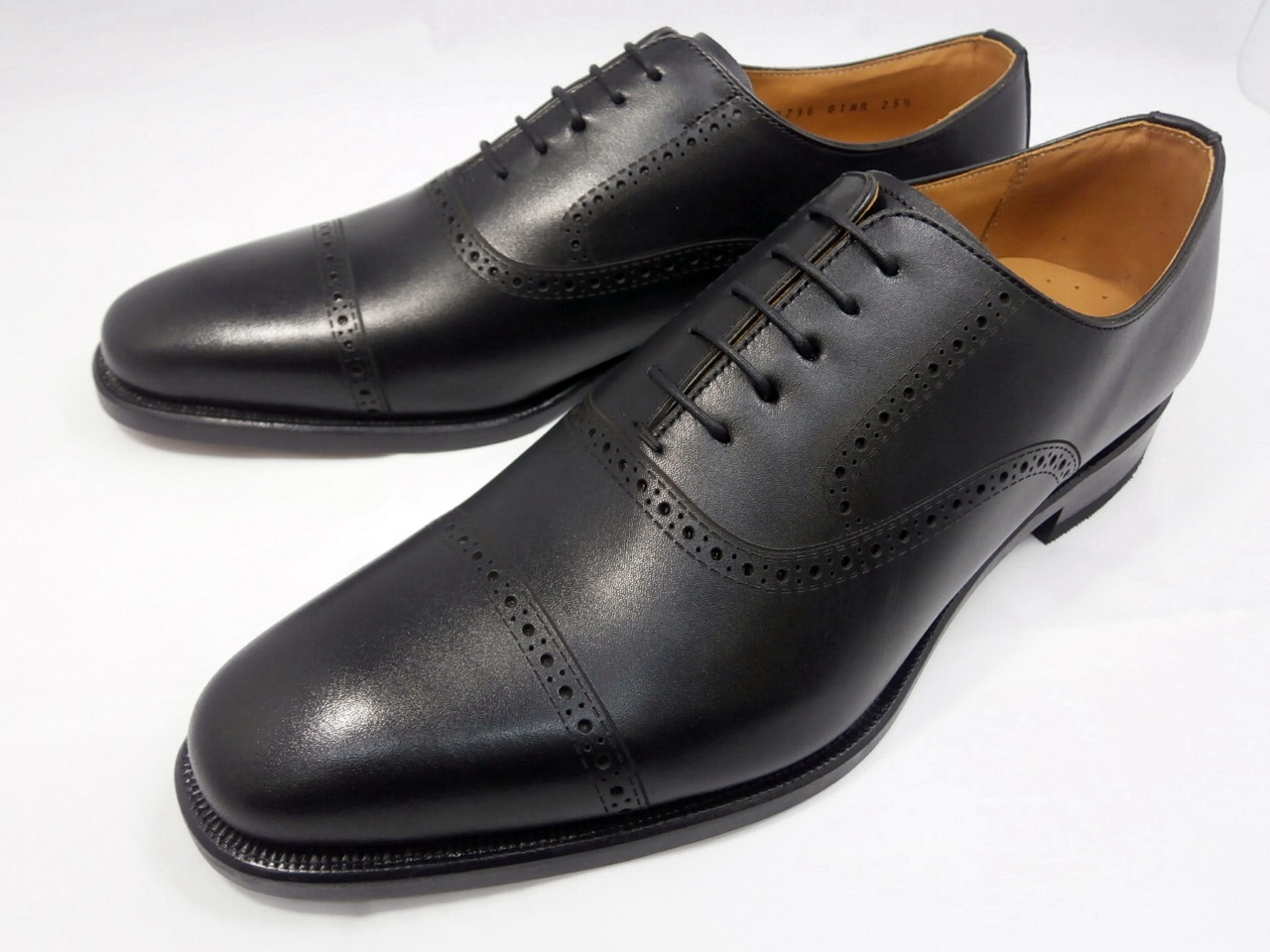 【現品24.5cm/即日発送】リーガル 靴 メンズ ホールカットストレートチップ ビジネスシューズ 01MR(ブラック)REGAL