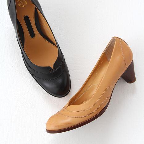 【クーポン対象外】chausser ショセ チェーンステッチ ラウンドトゥパンプス C-2038 レディース 靴
