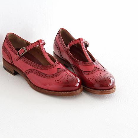 【10%OFFクーポン配布中】plus by chausser プリュス バイ ショセ Tストラップシューズ PC-5042 red レディース 靴