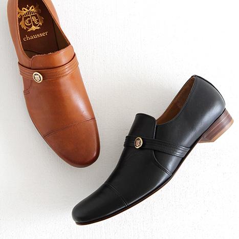 【クーポン対象外】chausser ショセ エンブレム付き スリッポンシューズ C-248 レディース 靴