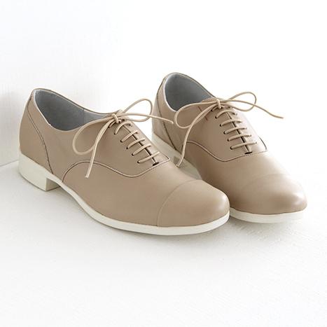 【別注カラー】TRAVEL SHOES by chausser トラベルシューズバイショセ ストレートチップレースアップシューズ TR-001 ベージュ/ホワイト レディース 靴