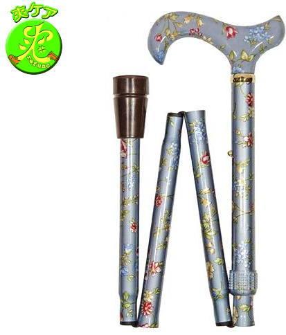【輸入杖】クラッシクケイン社 Folding Derby 折りたたみGray Floral 【介護用品】杖/ステッキ/おしゃれな柄もの/折りたたみ/【通販】