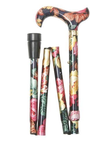 【輸入杖】クラッシクケイン社 Folding Derby 折りたたみMulti Color Floral【輸入ステッキ】 【介護用品】杖/ステッキ/おしゃれな柄もの/折りたたみ/【通販】