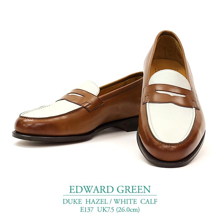【新品】【リジェクト品につき格安】エドワードグリーン デューク ヘーゼル/ホワイト カーフ Eウィズ 137ラスト UK7.5(26.0cm) コインローファー ビジネスシューズ メンズ靴 紳士靴 EDWARD GREEN DUKE HAZEL/WHITE