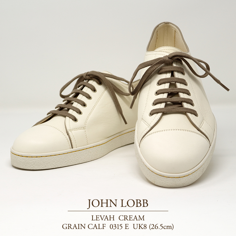 【新品 JL036】ジョンロブ レバー(レヴァー) クリーム グレインカーフ Eウィズ 0315ラスト UK8(26.5cm) JOHN LOBB LEVAH CREAM GRAIN CALF 0315E