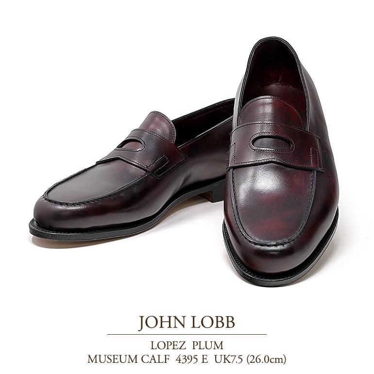 【新品 JL047】ジョンロブ ロペス プラム ミュージアムカーフ Eウィズ 4395ラスト UK7.5(26.0cm) JOHN LOBB LOPEZ PLUM MUSEUM CALF 4395E