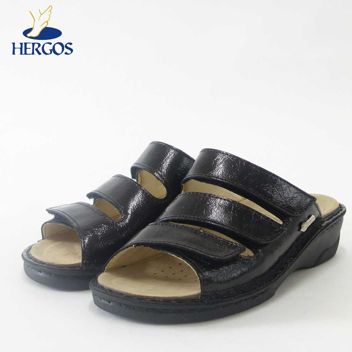 HERGOS H 611 ブラック(レディース)イタリア製コンフォートシューズ フッドベッドが足にベストフィット!快適サンダル 「靴」