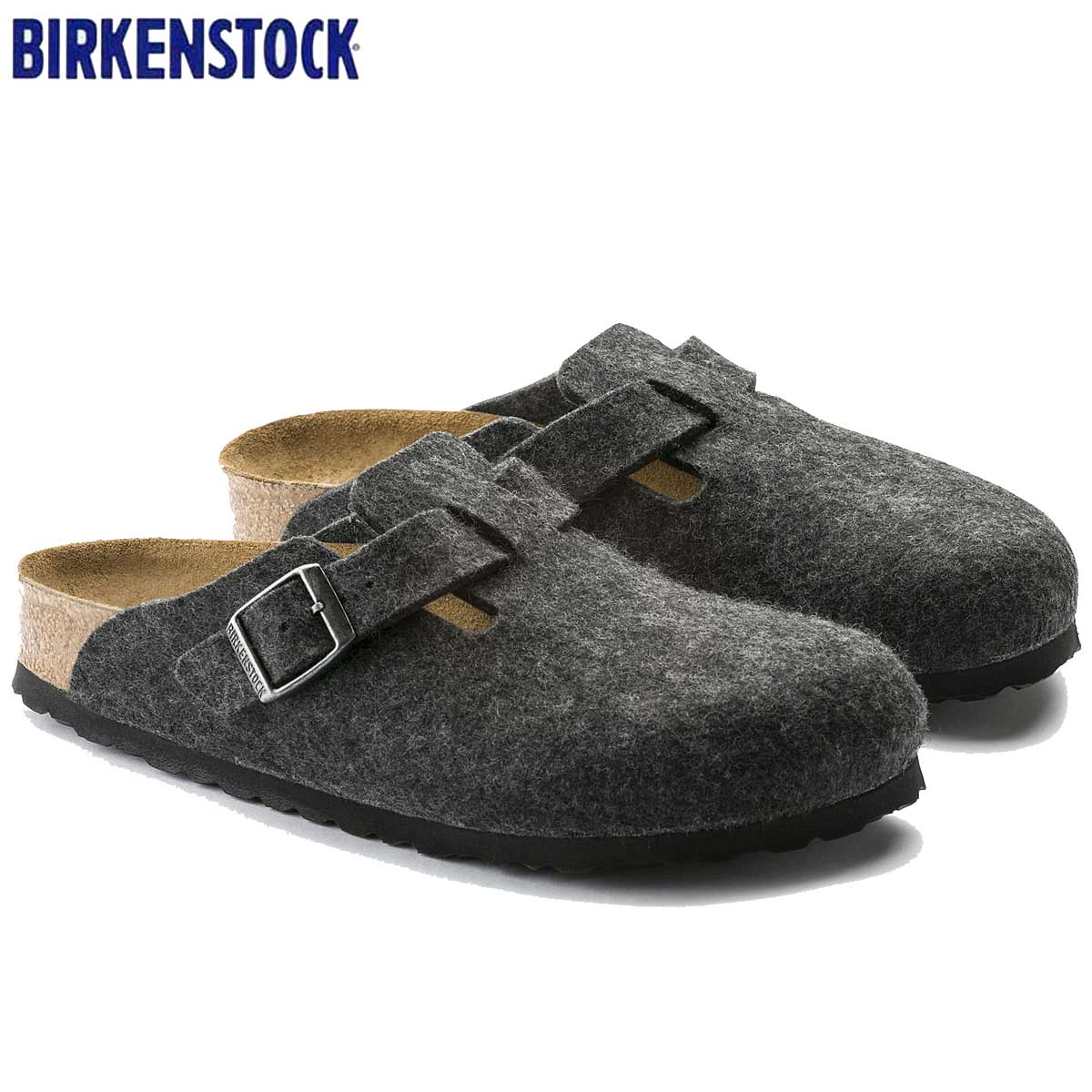 ビルケンシュトック BIRKENSTOCK Boston(ボストン)幅狭(ナローフィット) GC 160373(ウールフェルト/アンスラジット) 「靴」