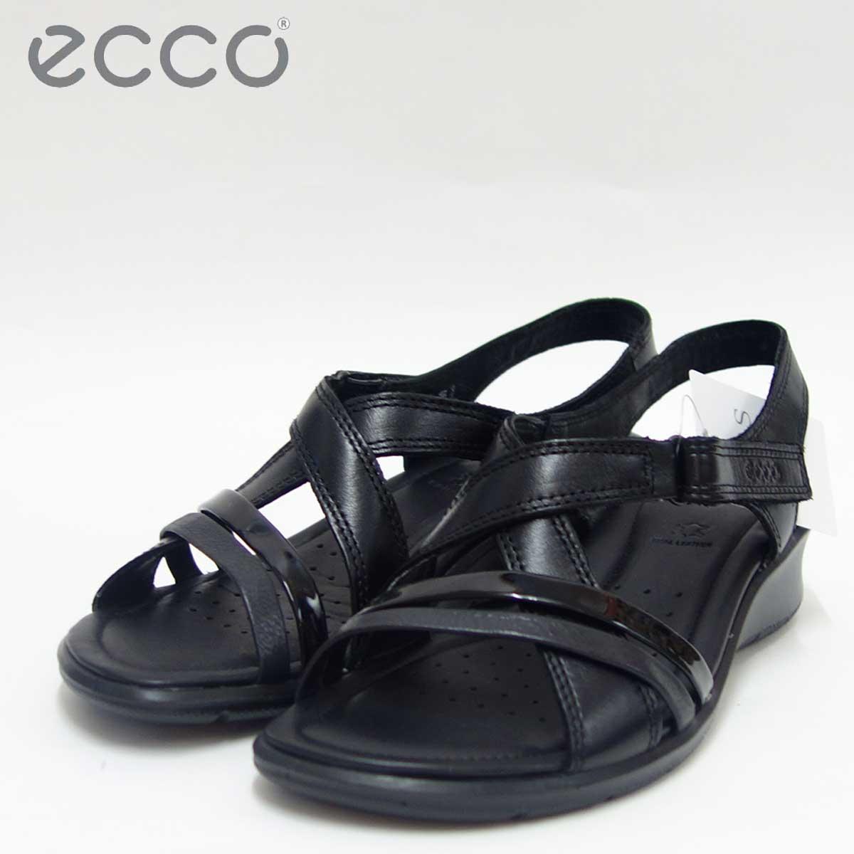 ECCO エコー 216513 ブラック快適な履き心地のバックストラップサンダル天然皮革コンフォートサンダル(レディース)「靴」