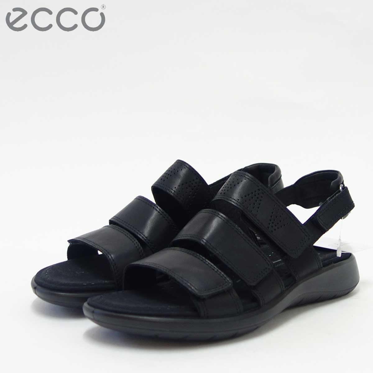 ECCO エコー 218523 ブラック快適な履き心地の4点ストラップサンダル天然皮革コンフォートサンダル(レディース)「靴」