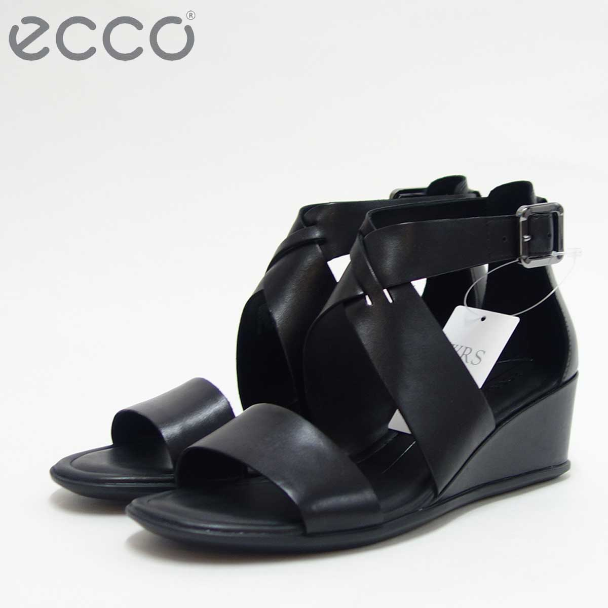 ECCO エコー 250113 ブラックスタイリッシュなウェッジサンダル「靴」