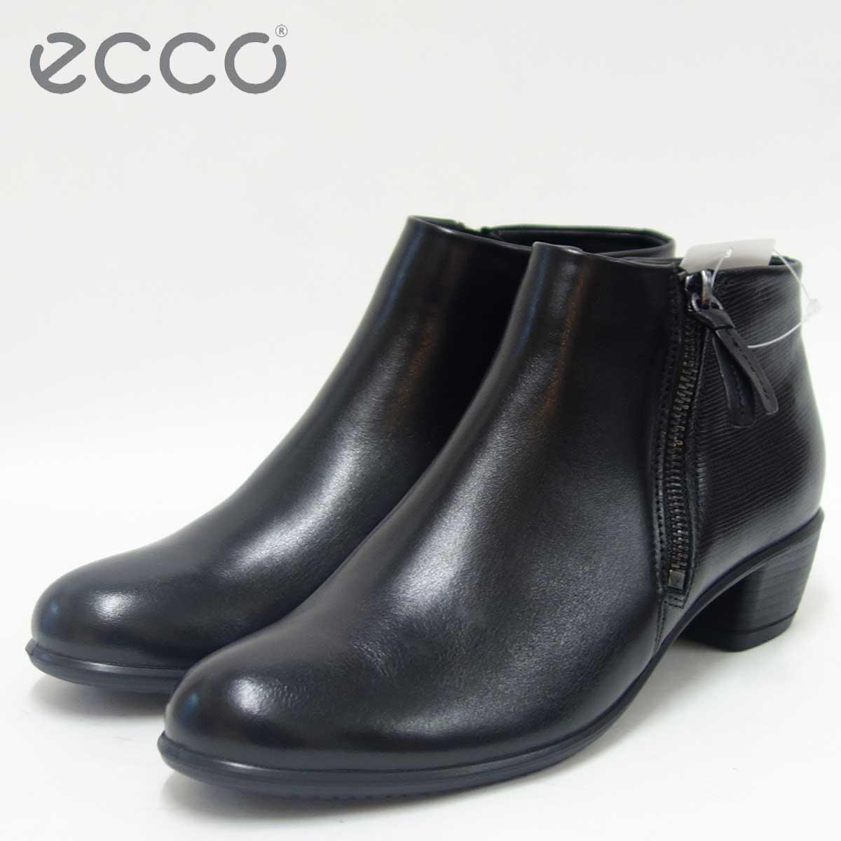 ECCO エコー 264153 ブラック(レディース)スムースレザー ローヒール アンクルブーツECCO TOUCH 35 Low cut zip「靴」
