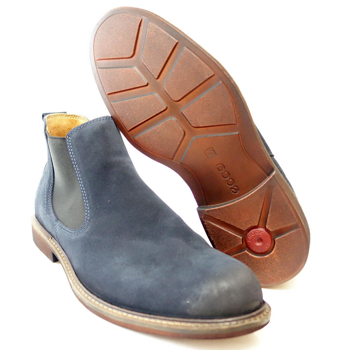 エコーECCO 633544 ネイビー(メンズ)ON&OFFもお洒落に履けるサイドゴアブーツクッションが良く、足にやさしくフィット「靴」