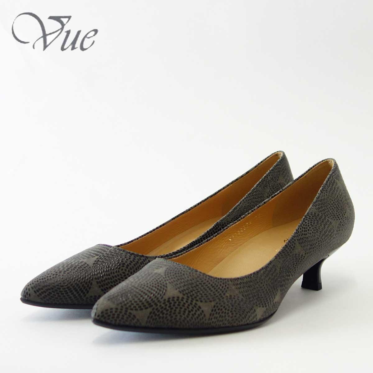 Vue ビュー EIZO Collection 14437A グレープリント上質レザーのポインテッドプレーンパンプス「靴」