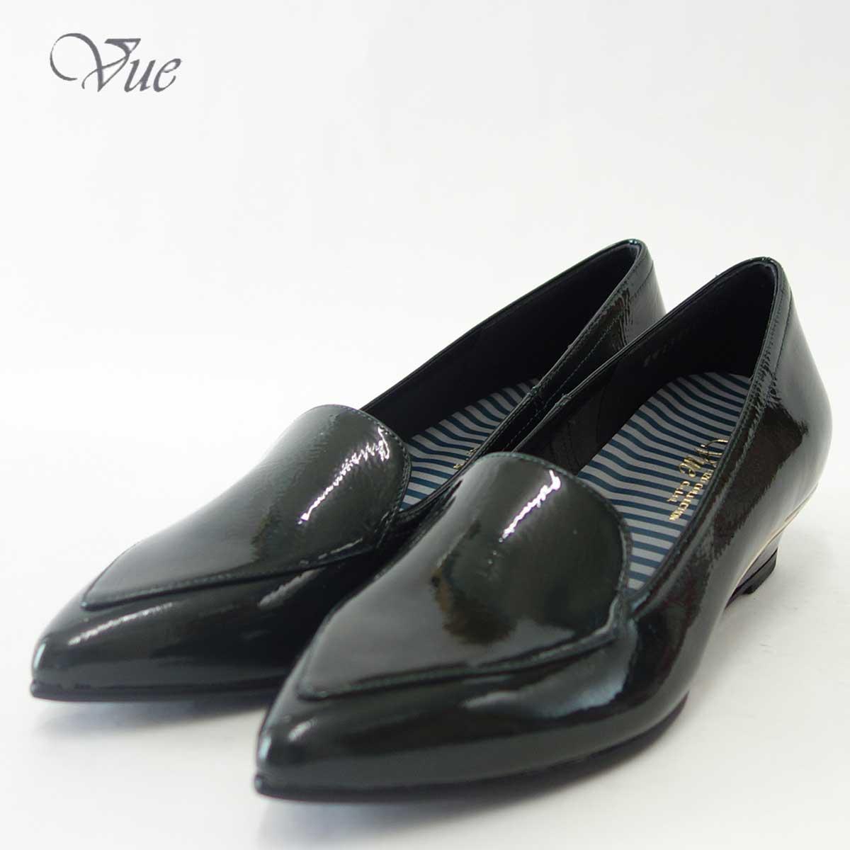 Vue ビュー EIZO Collection 23495 ダークグリーンエナメル上質レザーの甲深ウェッジソールパンプス快適なフィット感と日本製ならではの逸品「靴」
