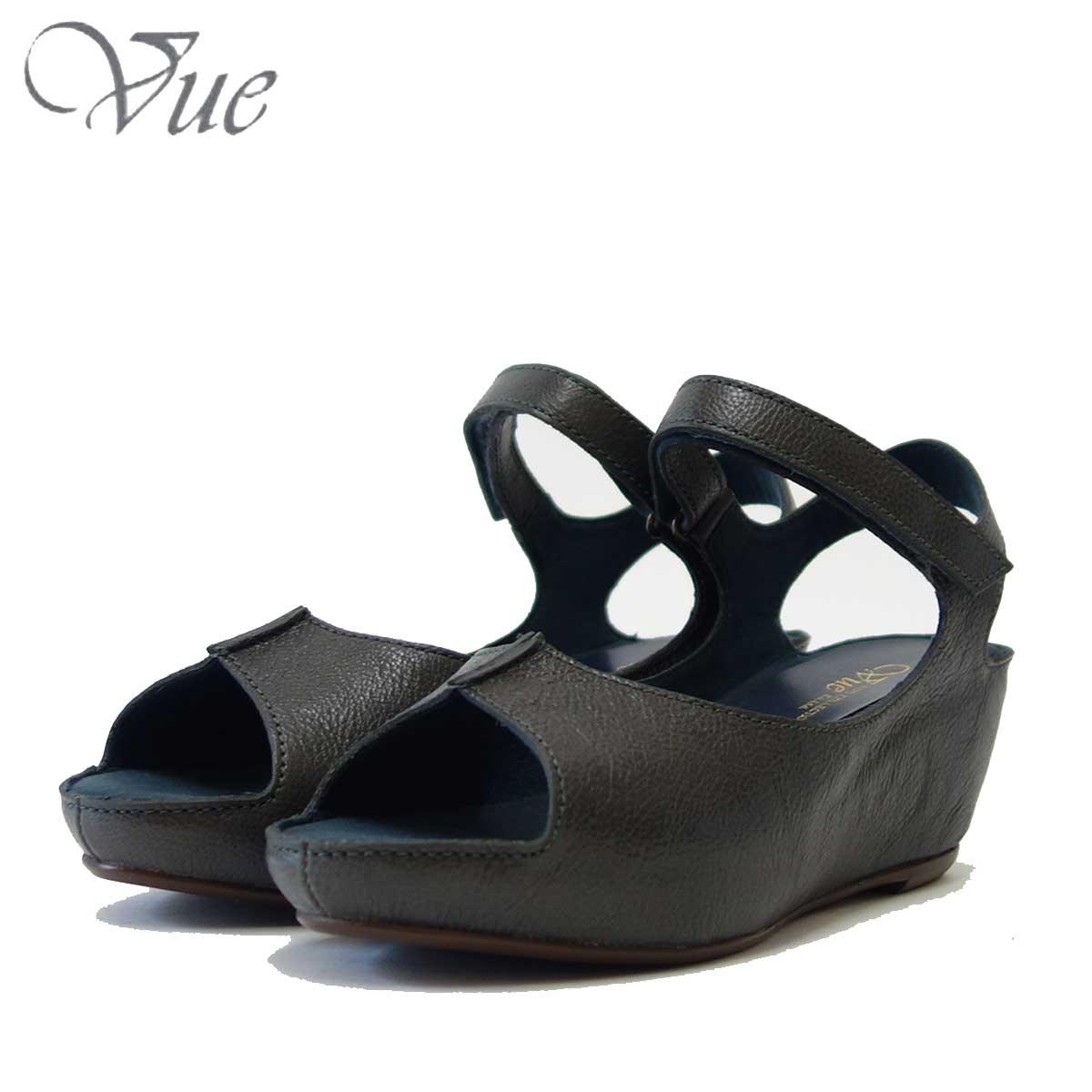 Vue ビュー EIZO Collection 53577 ブルー(ダークグレー系) オープントゥ ウェッジサンダル 「靴」