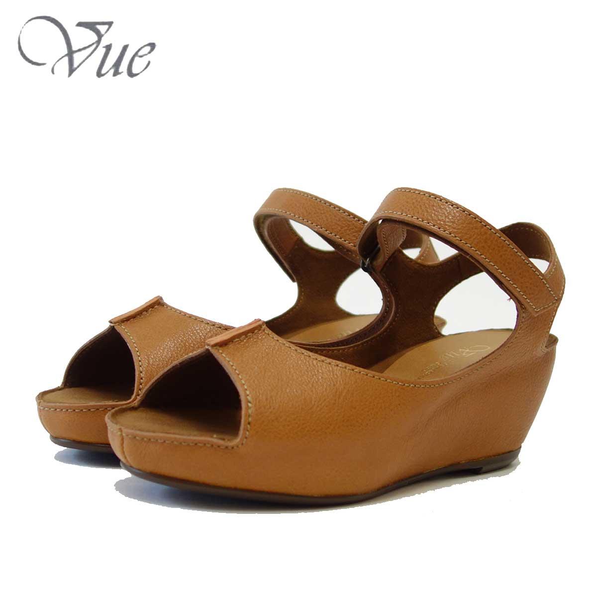 Vue ビュー EIZO Collection 53577 キャメル オープントゥ ウェッジサンダル 「靴」