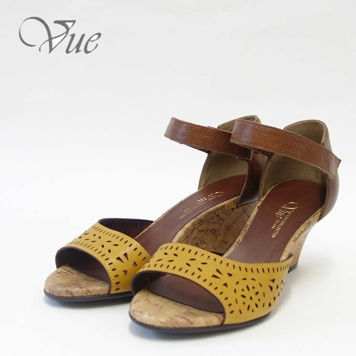 Vue ビュー EIZO Collection 55571 イエロー/ブラウンオープントゥ ウェッジシューズ「靴」