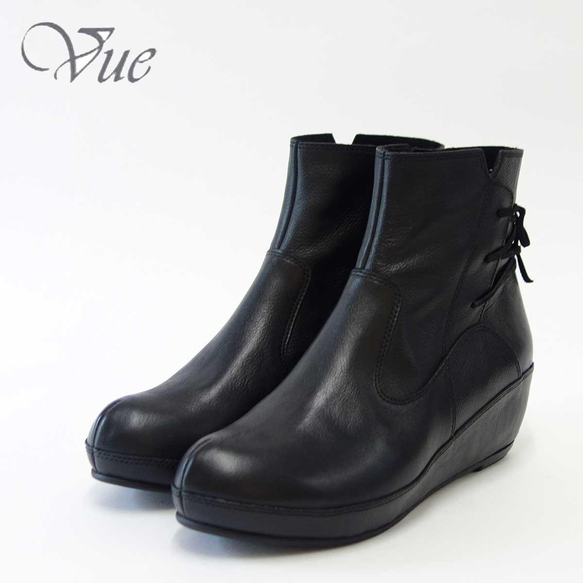 Vue ビュー EIZO Collection 73535 ブラック上質レザーのウェッジショートブーツ「靴」