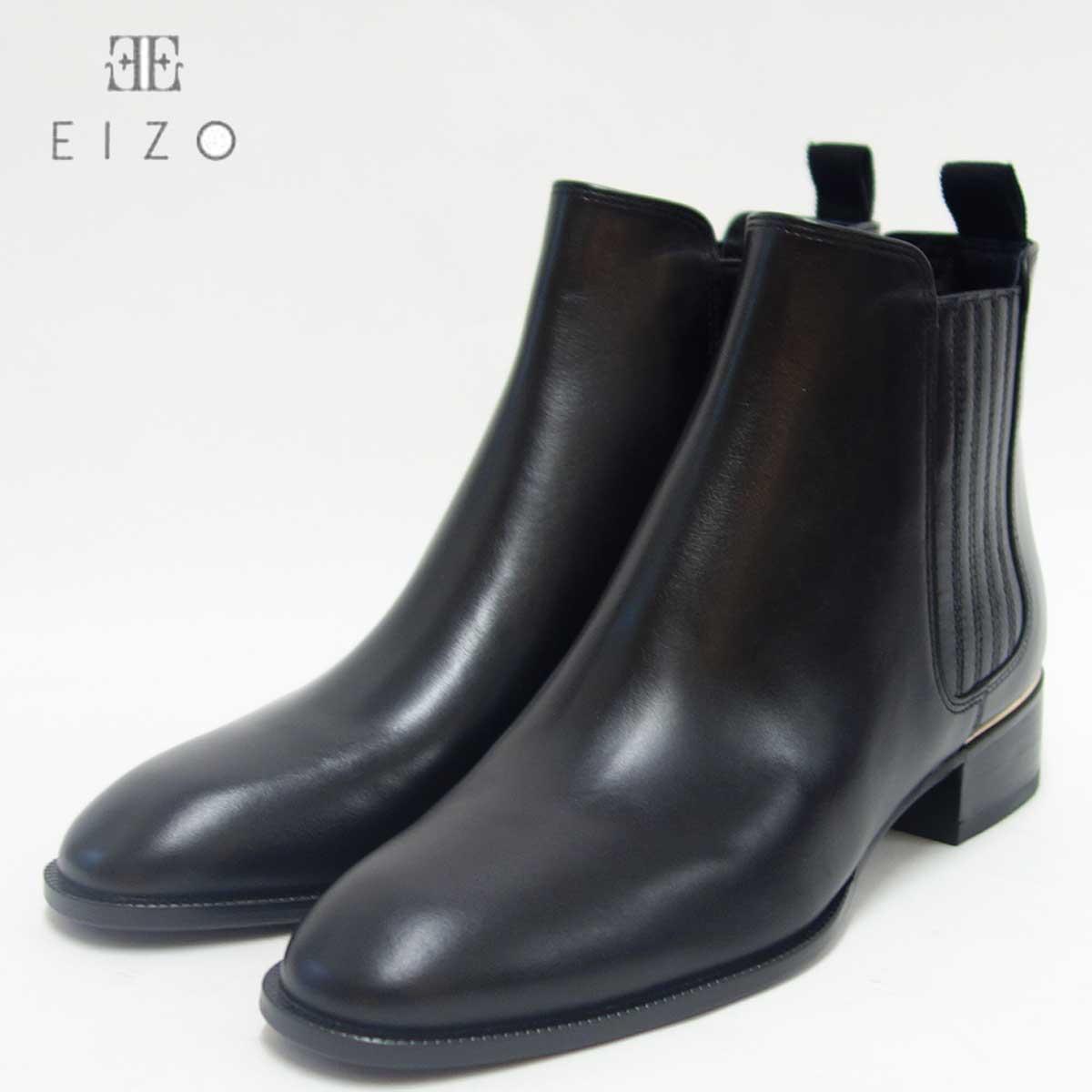Chuchoter シュショテ per eizo 73877 ブラックシンプルフォルムのサイドゴアブーツ「靴」