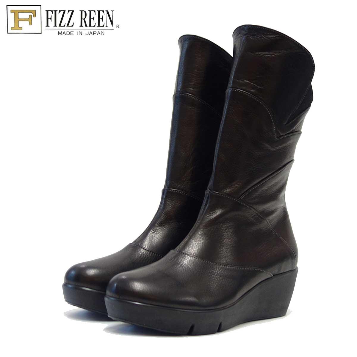 フィズリーン FIZZ REEN 486 ブラック(日本製) 厚底ウェッジハーフブーツ 「靴」
