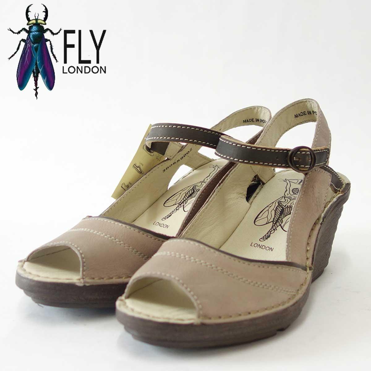 FLY LONDON フライロンドン SHEA659FLY 300659 002 グレーオープントゥウェッジサンダル「靴」