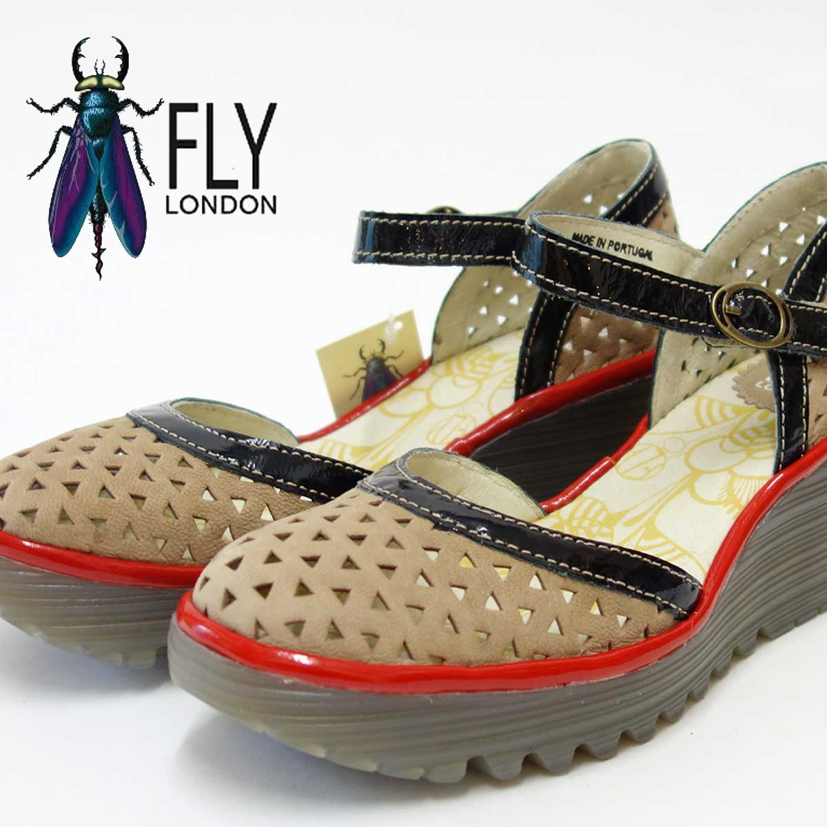 ポルトガル製ウェッジパンプスFLY LONDON フライロンドンYUDE646FLY 500646 ベージュコンビソフトレザー&快適クッション「靴」